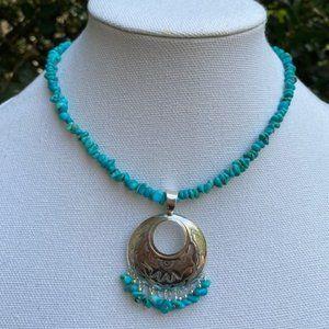 VTG Sterling Quoc Turquoise Inc. Pendant Necklace